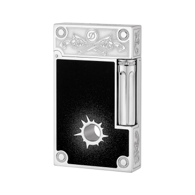 Palladium finish natural lacquer lighter with hole and chain black