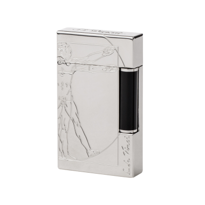 VITRUVIAN MAN PREMIUM NATURAL LACQUER LIGHTER, PALLADIUM FINISH BLACK