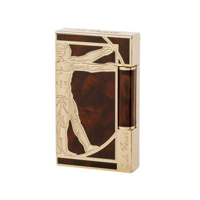 VITRUVIAN MAN PRESTIGE NATURAL LACQUER LIGHTER, PALLADIUM AND YELLOW GOLD FINISH BROWN
